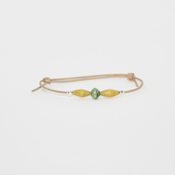 little girl bracelet yellow green drop